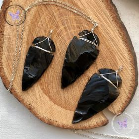 Black Obsidian Arrowhead Silver Pendant
